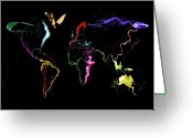 Planet Greeting Cards - World Map Abstract Paint Greeting Card by Michael Tompsett