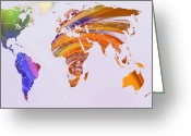 Australia Map Greeting Cards - World Map Abstract Painted Greeting Card by Stefan Kuhn