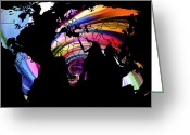 Australia Map Greeting Cards - World Map Abstract Painting 2 Greeting Card by Stefan Kuhn