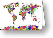 World Map Canvas Greeting Cards - World Map Circles Greeting Card by Michael Tompsett