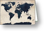 Poster Greeting Cards - World Map Distressed Navy Greeting Card by Michael Tompsett