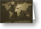 Maps Digital Art Greeting Cards - World Map Gold Greeting Card by Michael Tompsett