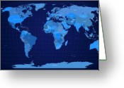 Map Of The World Greeting Cards - World Map in Blue Greeting Card by Michael Tompsett