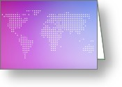 World Series Greeting Cards - World Map In Dots Against An Abstract Background Greeting Card by Ralf Hiemisch