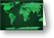 Planet Greeting Cards - World Map in Green Greeting Card by Michael Tompsett