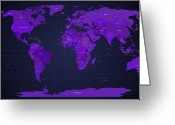 Countries Greeting Cards - World Map in Purple Greeting Card by Michael Tompsett