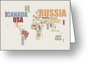 Modern Greeting Cards - World Map in Words 2 Greeting Card by Michael Tompsett
