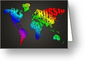 Britain Greeting Cards - World Map in Words Greeting Card by Michael Tompsett