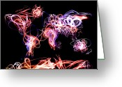 Light  Digital Art Greeting Cards - World Map Light Writing Greeting Card by Michael Tompsett