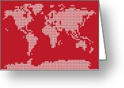 Canvas Greeting Cards - World Map Love Hearts Greeting Card by Michael Tompsett