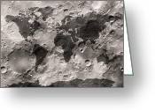 Moons Greeting Cards - World Map on the Moons Surface Greeting Card by Michael Tompsett