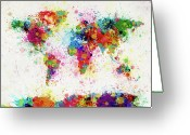 Canvas Greeting Cards - World Map Paint Drop Greeting Card by Michael Tompsett