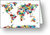 Gloss Greeting Cards - World Map Paint Drops Greeting Card by Michael Tompsett