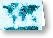 Aqua Greeting Cards - World Map Paint Splashes Blue Greeting Card by Michael Tompsett