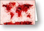Map Of The World Greeting Cards - World Map Paint Splashes Red Greeting Card by Michael Tompsett