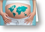 Racial Greeting Cards - World Map Painted on Pregnant Womans Belly Greeting Card by Oleksiy Maksymenko