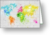 Compass Greeting Cards - World Map Painting On Brick Wall Greeting Card by Setsiri Silapasuwanchai