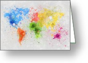 Retro Pastels Greeting Cards - World Map Painting Greeting Card by Setsiri Silapasuwanchai