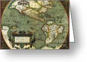 Old Map Photo Greeting Cards - World Map Greeting Card by Photo Researchers