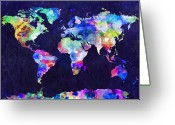 Urban Greeting Cards - World Map Urban Watercolor Greeting Card by Michael Tompsett