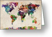 Urban Greeting Cards - World Map Watercolor Greeting Card by Michael Tompsett