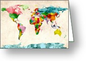 Planet Greeting Cards - World Map Watercolors Greeting Card by Michael Tompsett
