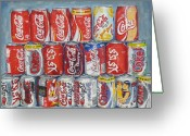 Soft Painting Greeting Cards - World of Coca Cola Greeting Card by Tomas OMaoldomhnaigh