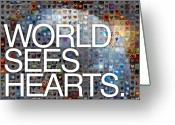 Heart Collage Greeting Cards - World Sees Hearts Greeting Card by Boy Sees Hearts