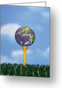 Golf Green Greeting Cards - World Teed Up Greeting Card by Gerard Fritz