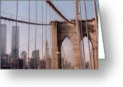 Woolworth Building Greeting Cards - World Trade Center and Brooklyn Bridge Greeting Card by Christopher Kirby