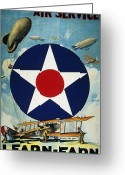 1918 Greeting Cards - World War I: Air Service Greeting Card by Granger