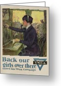 Great Painting Greeting Cards - World War I YWCA poster Greeting Card by Clarence F Underwood
