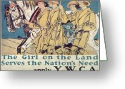 Posters On Greeting Cards - World War I YWCA poster  Greeting Card by Edward Penfield