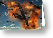 Fighter Jets Greeting Cards - World War Ii Aerial Combat Greeting Card by Mark Stevenson