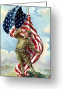 United States Flag Greeting Cards - World War One Soldier Greeting Card by War Is Hell Store