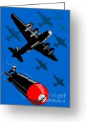 Transit Greeting Cards - World War Two Bomber Airplanes Drop Bomb Retro Greeting Card by Aloysius Patrimonio