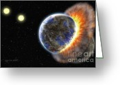 Outer Space Greeting Cards - Worlds in Collision Greeting Card by Lynette Cook