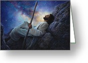Blue Moon Greeting Cards - Worlds Without End Greeting Card by Greg Olsen