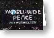 Peace Drawings Greeting Cards - Worldwide Peace Incorporated Greeting Card by Robert Wolverton Jr