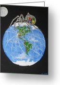 Outerspace Greeting Cards - Worldwide Web Greeting Card by Pamela Norwood