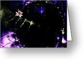Mandelbrot Set Greeting Cards - Wormhole Beyond . Square . S4a.S10 Greeting Card by Wingsdomain Art and Photography