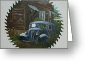 Saw Blade Greeting Cards - Worn Out Car Greeting Card by Darlene Prowell