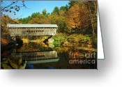 New England Autumn Greeting Cards - Worralls Bridge Vermont - New England Fall Landscape covered bridge Greeting Card by Jon Holiday