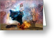 Prophetic Art Greeting Cards - Worship warrior Greeting Card by Dolores DeVelde