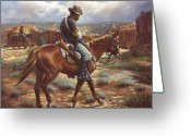 Buffalo Painting Greeting Cards - Wounded In Action Greeting Card by Harvie Brown