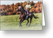 Quarter Horses Greeting Cards - Wrangler and Horse Greeting Card by Susan Candelario