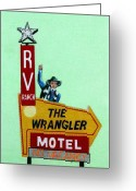 Cowboy Pencil Drawing Greeting Cards - Wrangler Motel Greeting Card by Glenda Zuckerman