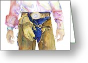 Cowboy Greeting Cards - Wrangler  Greeting Card by Pat Saunders-White