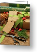 Green Tag Greeting Cards - Wrapping gifts for the holidays Greeting Card by Sandra Cunningham