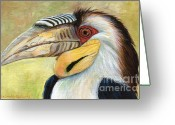 Yellow Beak Painting Greeting Cards - Wreathed Hornbill  Greeting Card by Svetlana Ledneva-Schukina